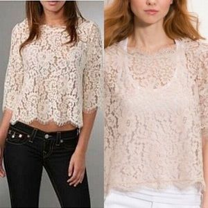 Joie Fanny Sheer Lace Ruched Sleeve Top